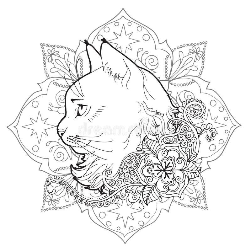 Il Gatto E La Mandala Libro Di Coloritura Illustrazione Vettoriale