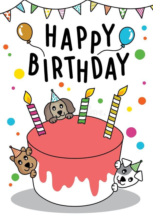 Il gatto ed il cane svegli di scarabocchio di vettore con il dolce per il biglietto di auguri per il compleanno felice, hanno spa illustrazione di stock