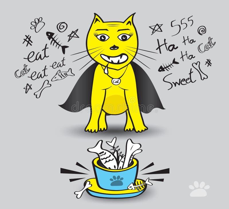 Il gatto giallo mangia l'illustrazione di vettore del pesce, tempo di godere di di mangiare, gatto di Dracula, ciotole dell'anima royalty illustrazione gratis