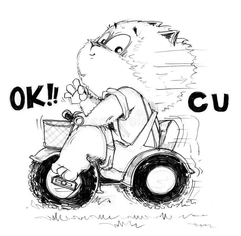 Il gatto gode di di giocare lo sbarazzamento della bici della ruota del giocattolo 3 illustrazione vettoriale