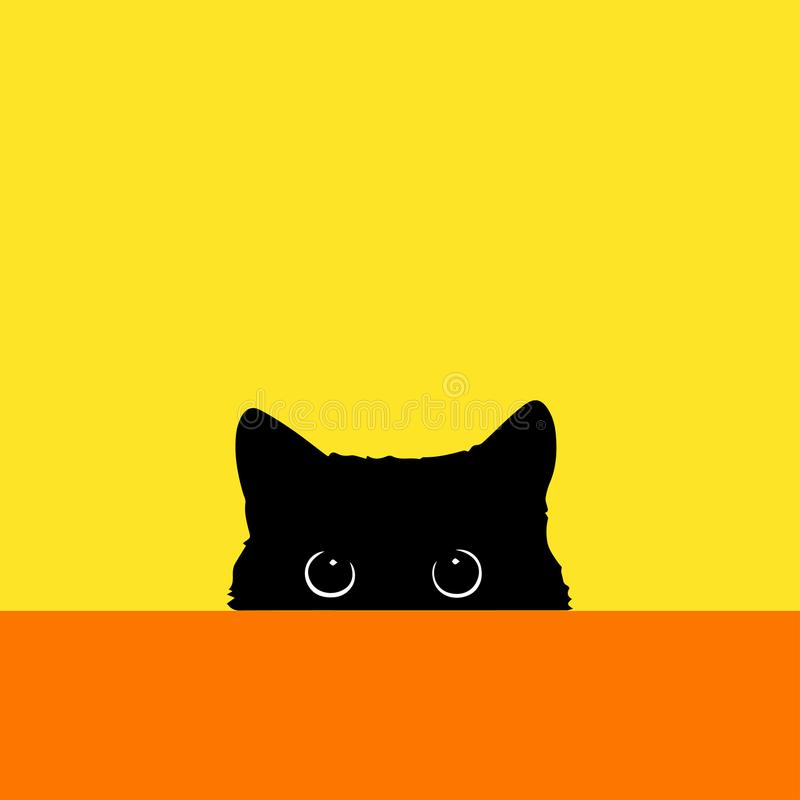 Il gatto guarda fuori a causa di una tavola illustrazione di stock