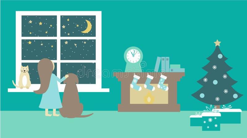 Il gatto, insegue una ragazza alla finestra vicino all'albero di Natale Santa Claus aspettante, illustrazione piana e del camino  royalty illustrazione gratis