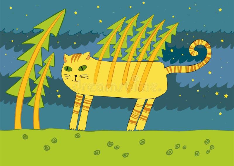 Il gatto nel legno illustrazione di stock