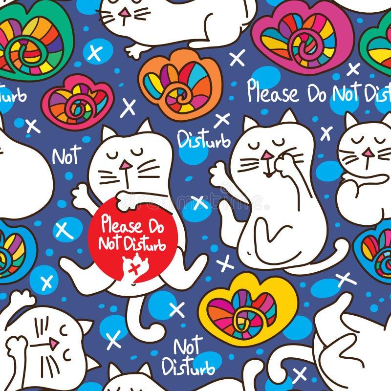 Il gatto non disturba prego il patetrn senza cuciture royalty illustrazione gratis