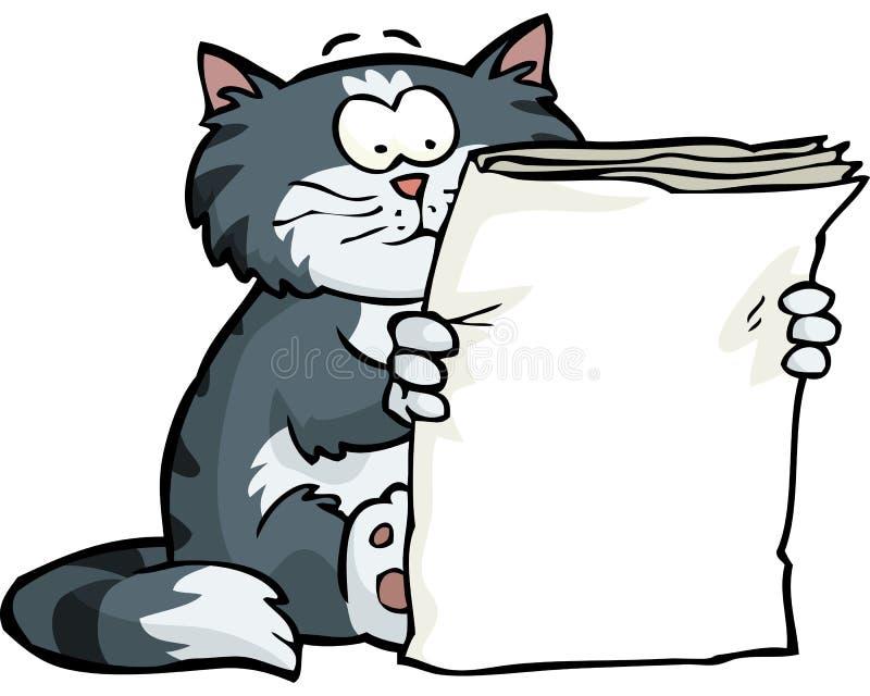 Il gatto sta leggendo il giornale royalty illustrazione gratis