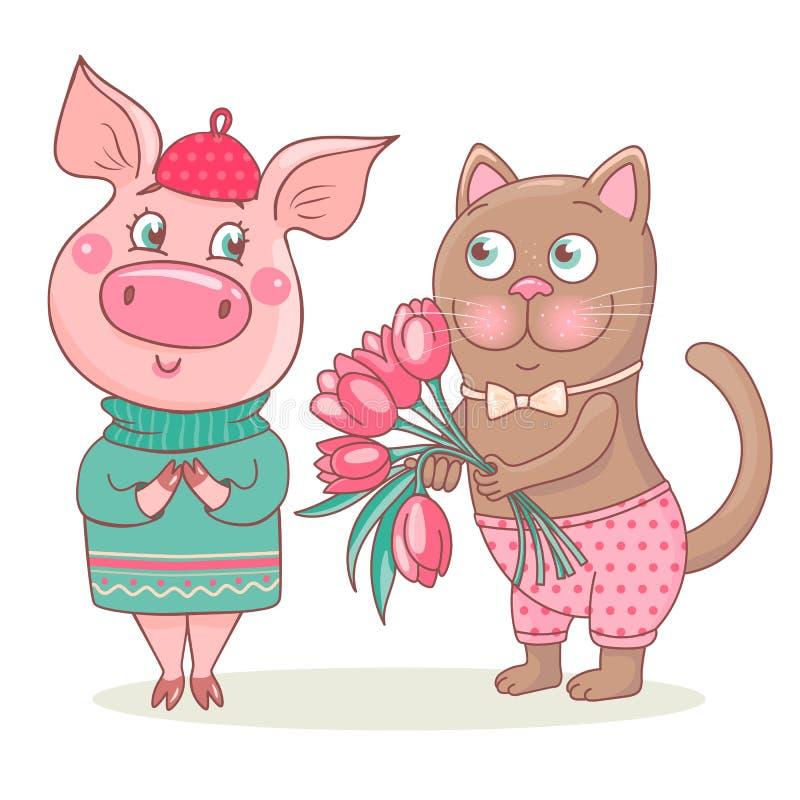 Il gatto sveglio dà un mazzo dei tulipani rosa al maiale illustrazione di stock