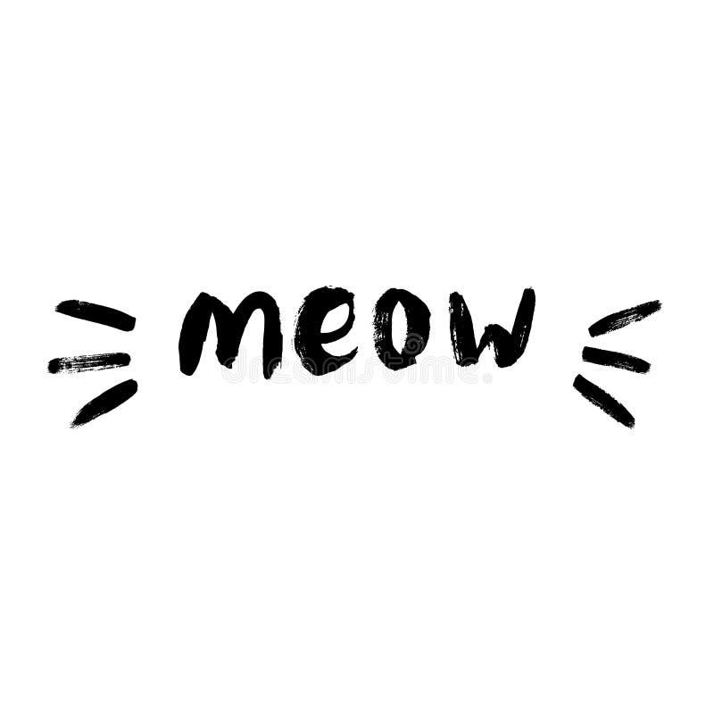 Il gatto sveglio del miagolio cita il vettore di illustartion illustrazione vettoriale
