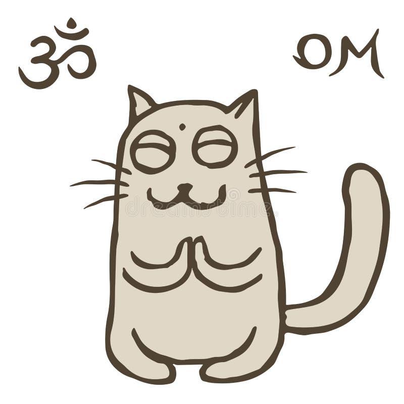 Il gatto Tik del fumetto ha raggiunto il chiarimento Illustrazione di vettore illustrazione vettoriale