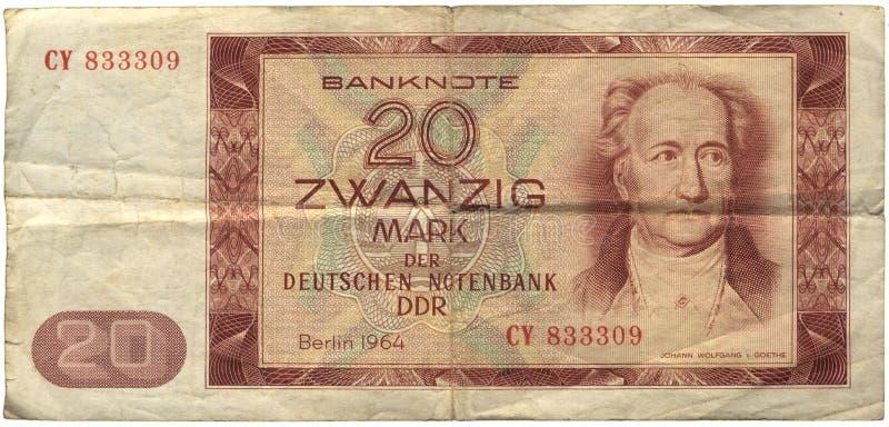 Il GDR, una banconota dei 20 contrassegni immagini stock libere da diritti