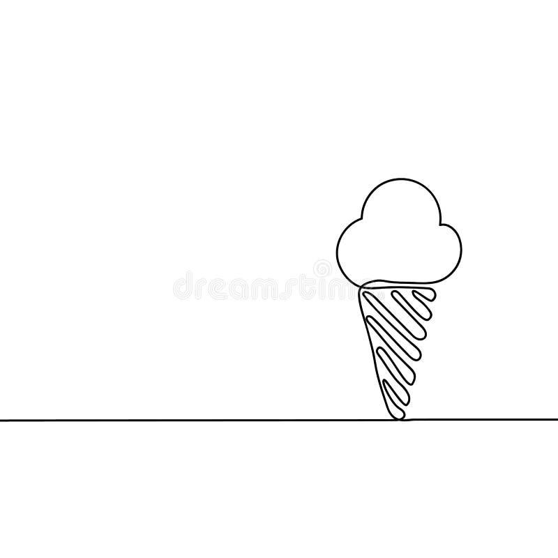 Il gelato è nero Disegno a tratteggio continuo Bella progettazione per un fondo nero Illustrazione di vettore royalty illustrazione gratis