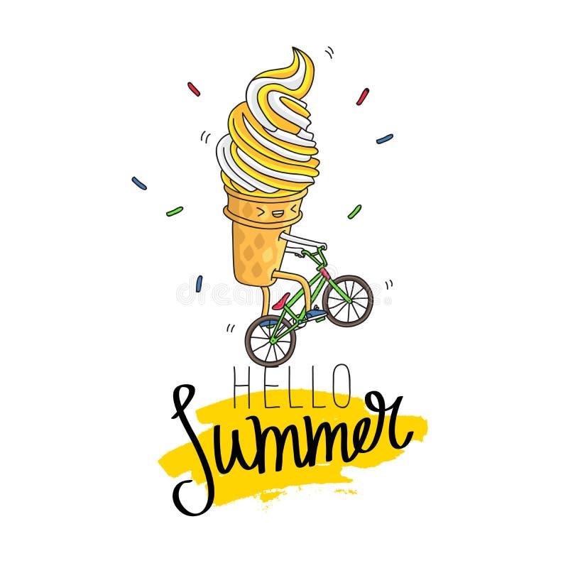 Il gelato in una tazza della cialda guida una bicicletta illustrazione vettoriale