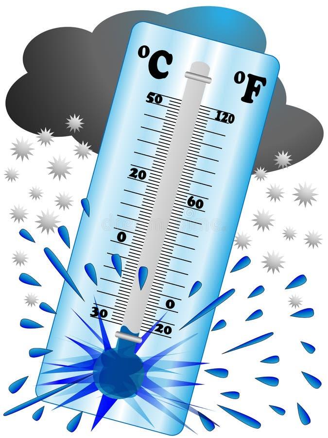 Il gelo crea una bassa temperatura in modo dal termometro esplode fotografia stock