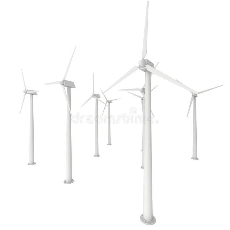 Il generatore eolico 3d rende illustrazione di stock