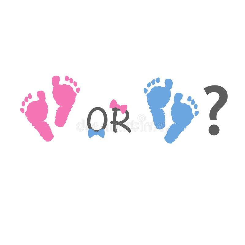 Il genere del bambino rivela Stampe del piede del bambino rosa e blu illustrazione di stock