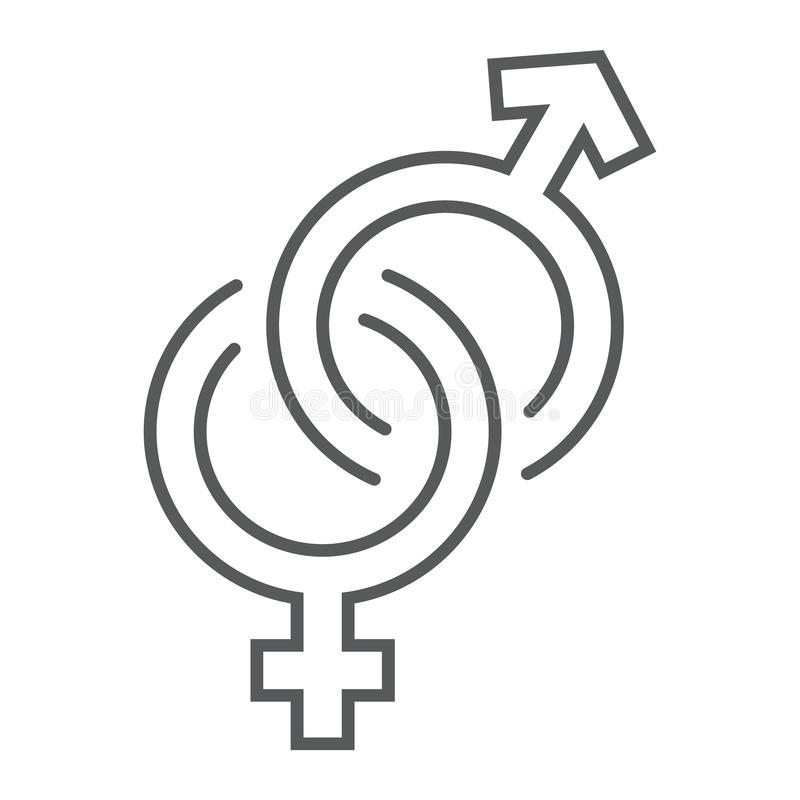 Il genere firma la linea sottile icona, l'amore ed il sesso, segno eterosessuale, grafica vettoriale, un modello lineare su un fo illustrazione di stock