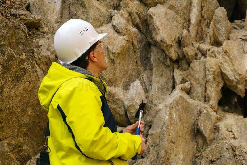 Il geologo sta andando prelevare un campione della roccia fotografia stock