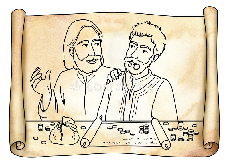 Il Gesù Cristo incontra matthew illustrazione vettoriale