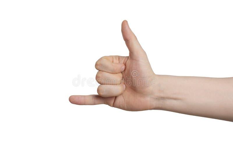 Il gesto mi chiama su un fondo bianco immagini stock