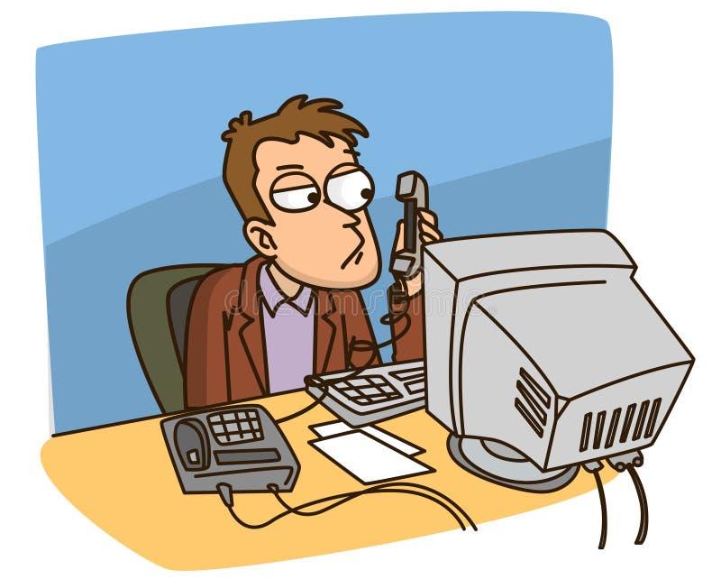 Il gestore parla sul telefono illustrazione di stock