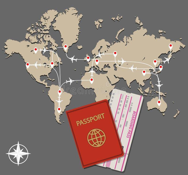 Il getto della mappa dirige il passaporto illustrazione di stock