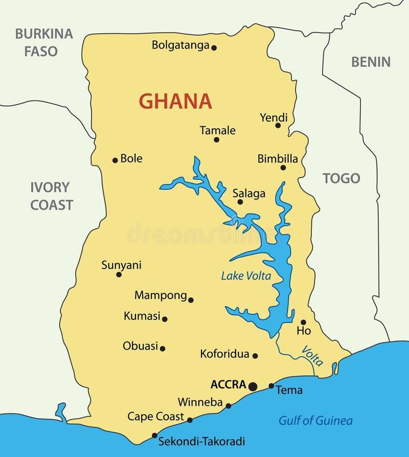 Il Ghana - mappa di vettore di paese illustrazione di stock