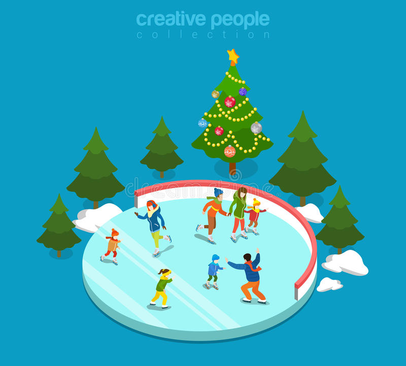 Il ghiaccio dell'inverno che picchetta la pista di pattinaggio mette in mostra il vettore isometrico piano 3d della famiglia royalty illustrazione gratis