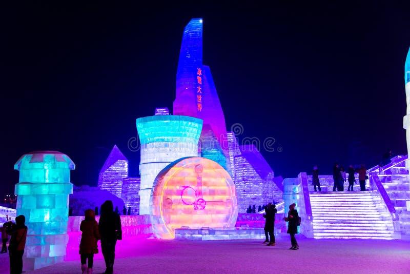 Il ghiaccio internazionale di Harbin ed il festival della scultura di neve è un festival annuale dell'inverno che ha luogo a Harb fotografia stock