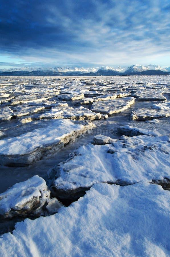 Il ghiaccio sfocia nell'orizzonte fotografie stock