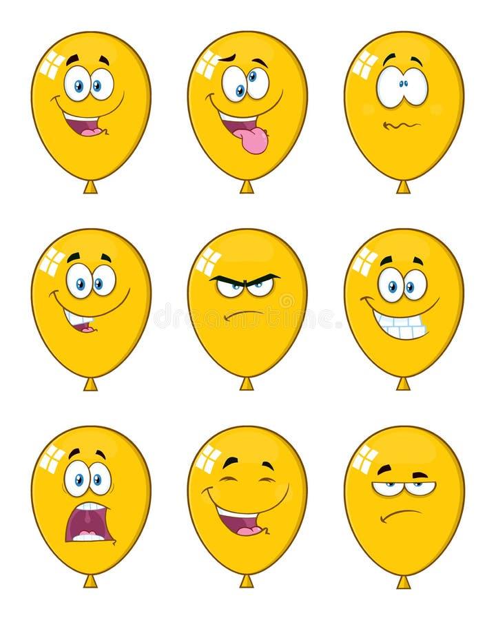 Il giallo Balloons il carattere della mascotte del fumetto con le espressioni illustrazione di stock
