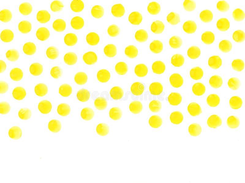 Il giallo circonda il fondo dell'acquerello L'acquerello struttura i cerchi dipinti a mano astratti fotografie stock