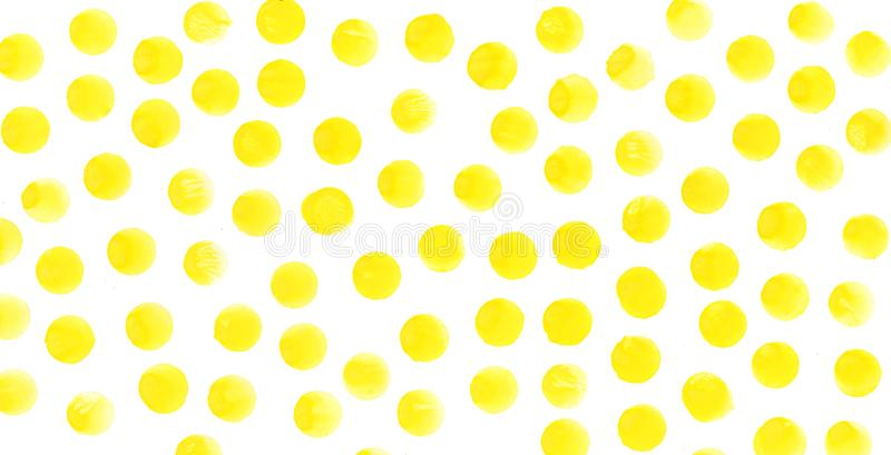 Il giallo circonda il fondo dell'acquerello L'acquerello struttura i cerchi dipinti a mano astratti immagini stock