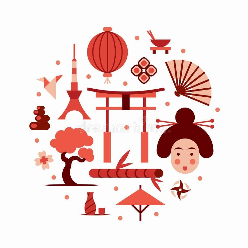 Il Giappone, illustrazione piana di vettore, insieme dell'icona immagini stock libere da diritti