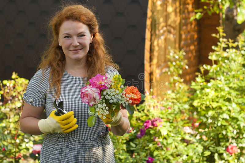 Il giardiniere attraente della donna adulta coltiva le rose dei fiori immagine stock libera da diritti