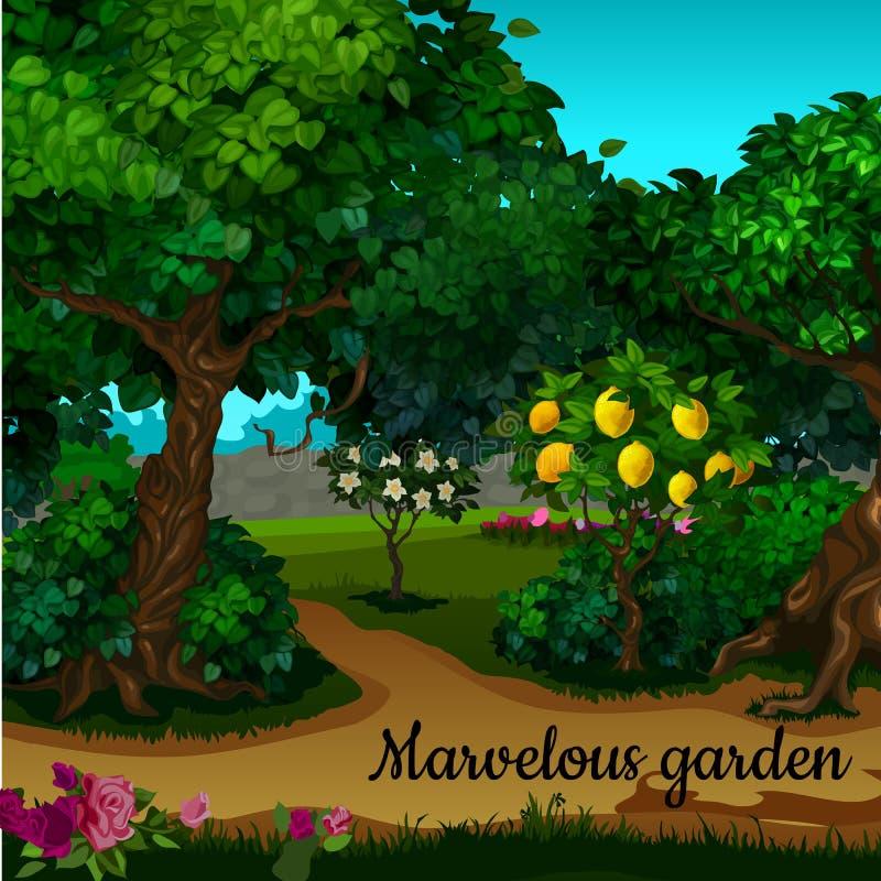 Il giardino con l'albero di agrume e gli alberi verdi illustrazione vettoriale