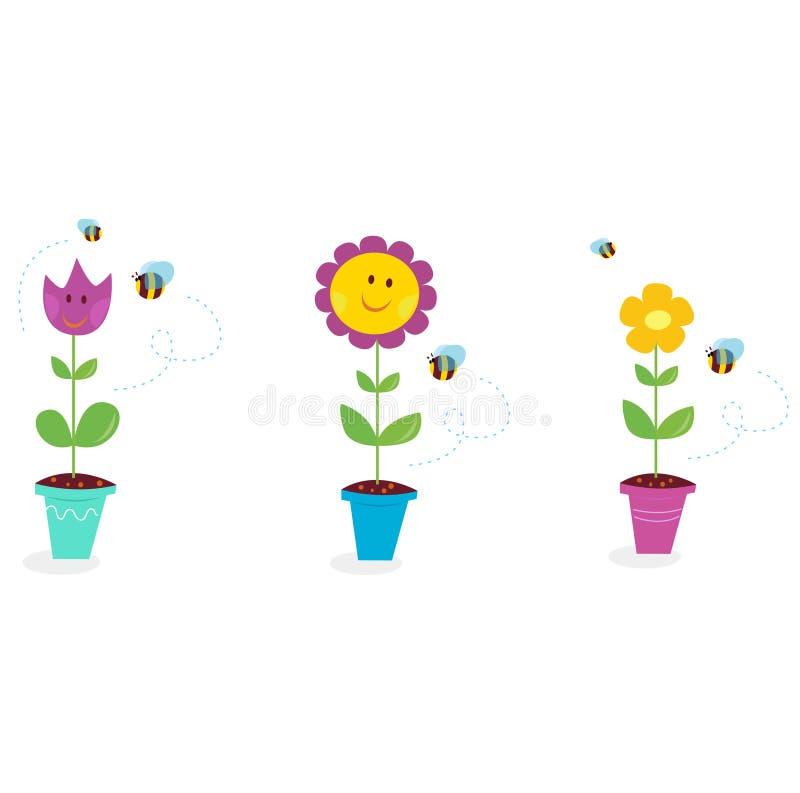 Il giardino della sorgente fiorisce - il tulipano, il girasole e la margherita illustrazione vettoriale