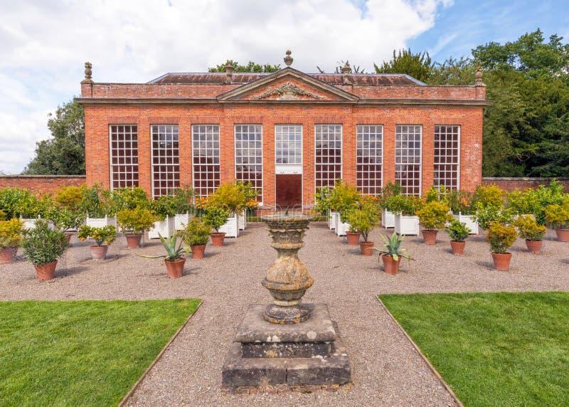 Il giardino di inverno, Hanbury Corridoio, Worcestershire, Inghilterra fotografia stock