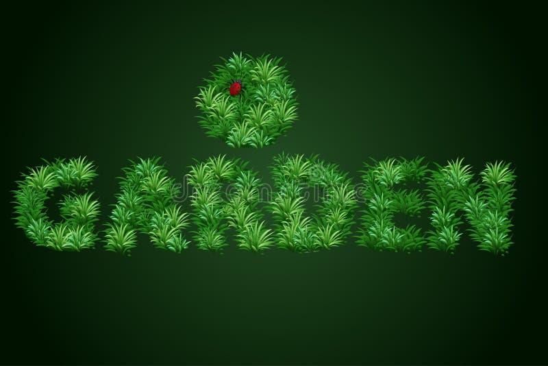 Il giardino di parola è scritto con una struttura di erba con una coccinella sui precedenti Bella bandiera illustrazione vettoriale