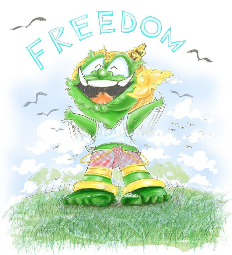 Il gigante ha libertà e molto felice tailandesi illustrazione di stock