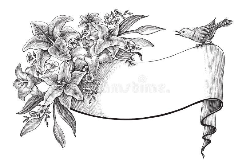 Il giglio fiorisce il clipart d'annata del disegno della mano con l'insegna e l'uccello royalty illustrazione gratis