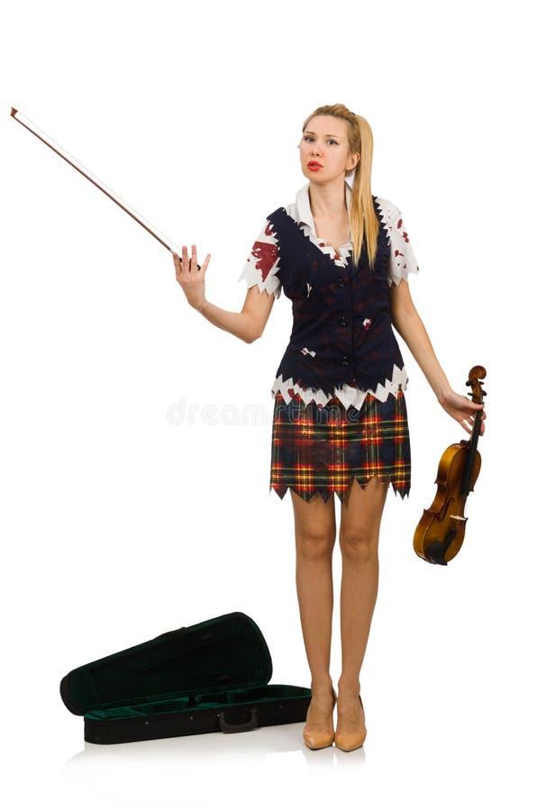 Il giocatore del violino della donna isolato su bianco fotografie stock libere da diritti