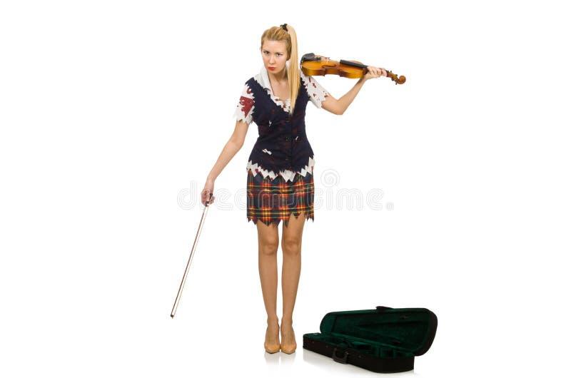 Il giocatore del violino della donna isolato su bianco immagine stock libera da diritti