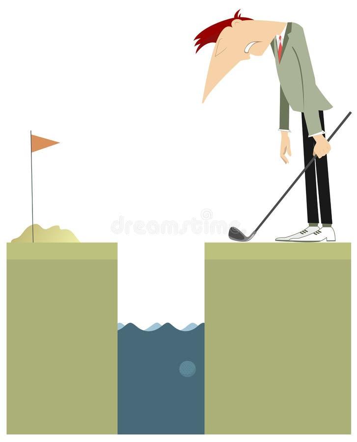 Il giocatore di golf resta vicino ad un'illustrazione di ostacolo dell'acqua illustrazione vettoriale