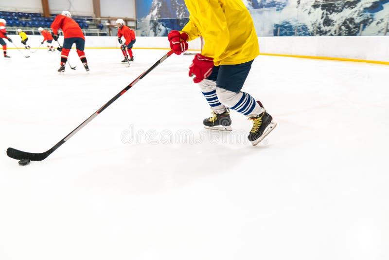 Il giocatore di hockey in una canottiera sportiva gialla e nei guanti rossi per la gente guida il disco Il gioco di addestramento immagini stock libere da diritti