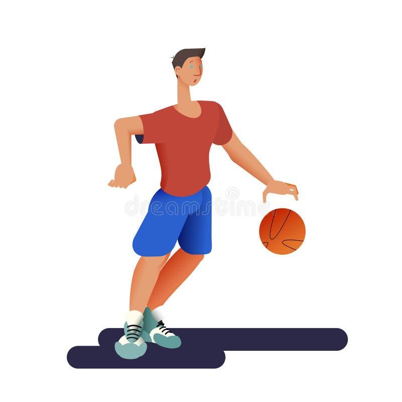 il giocatore di pallacanestro Sportivo di pallacanestro in piano con progettazione di pendenza Illustrazione di vettore illustrazione vettoriale