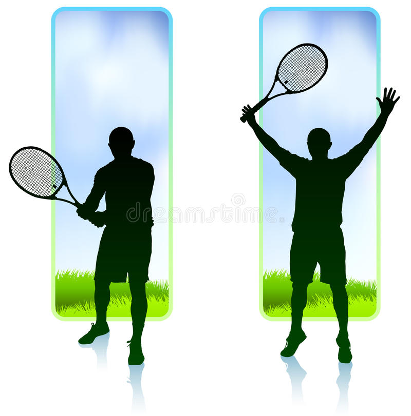 Il giocatore di tennis ha impostato con la priorità bassa della pagina della natura illustrazione vettoriale