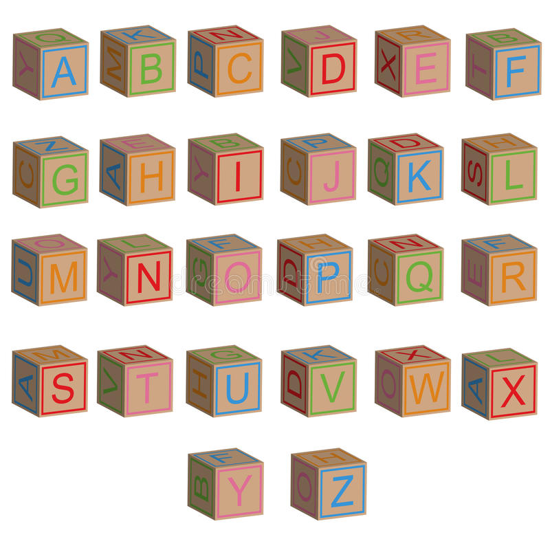 Il giocattolo blocca le lettere dell'alfabeto in 3D royalty illustrazione gratis