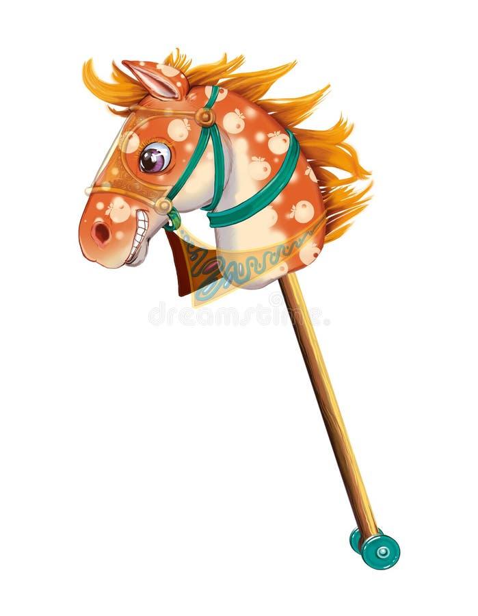 Il giocattolo del cavallo di bastone, ha tagliato su fondo bianco illustrazione di stock