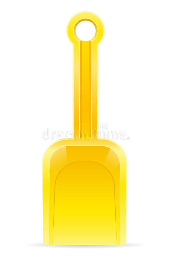 Il giocattolo della spiaggia dei bambini gialli della pala per il illustra di vettore delle azione della sabbia fotografie stock libere da diritti