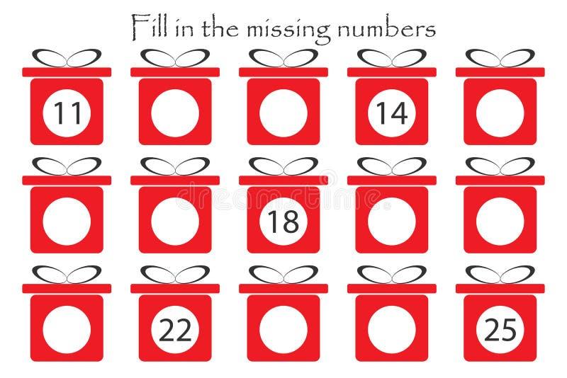 Il gioco con i regali di natale per i bambini, riempie i numeri mancanti, livello medio, gioco per i bambini, activ di istruzione illustrazione di stock