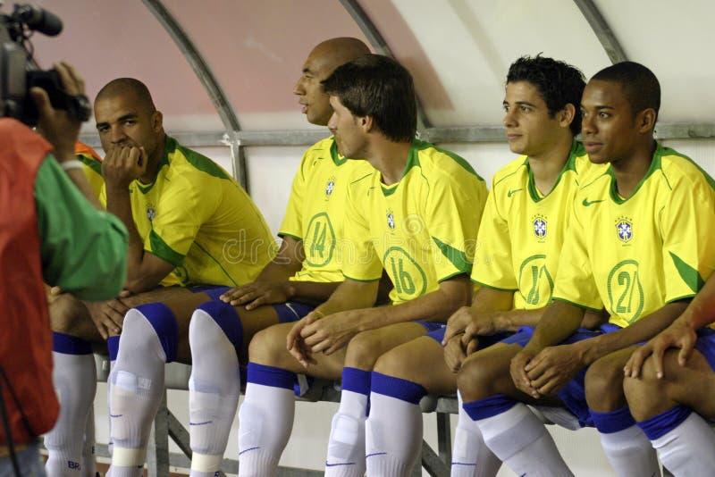 Il gioco del calcio del Brasile riserva il banco fotografia stock libera da diritti